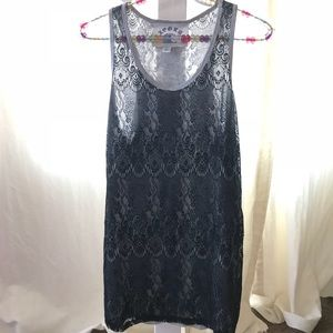 Tops - Black lace over jersey tank